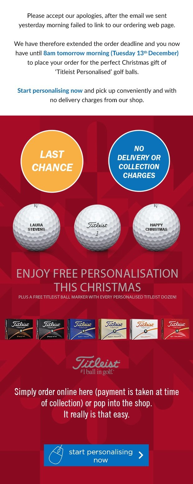 Free Personalisation on Titleist's, from £17.99